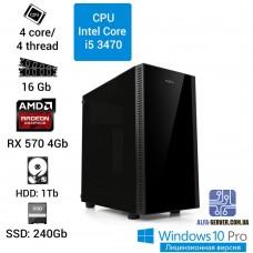 Игровой компьютер INTEL Core i5 3470, 16 ОЗУ, Radeon RX 570 4GB