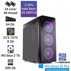 Рабочая станция 2x E5-2697v2 24 ядра 48 потоков, ОЗУ 64 GB, GTX 1070 8GB