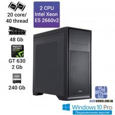 Рабочая станция 2 x E5 2660v2 20 ядер 40 потоков, ОЗУ 48GB, NVIDIA GT 630 2GB