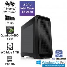 Рабочая станция 2 x E5 2670 16 ядер 32 потока, ОЗУ 32GB, NVIDIA Quadro K600 1GB
