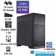 Рабочая станция 2 x E5 2680 16 ядер 32 потока, ОЗУ 32GB, NVIDIA Quadro 2000