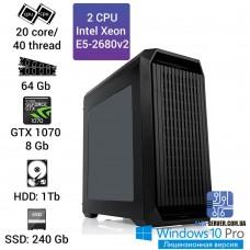 Рабочая станция 2x Intel Xeon E5 2680v2 20 ядер 40 потоков, ОЗУ 64 GB, GTX 1070 8GB