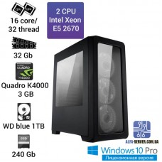 Графическая станция 2 x E5 2670 16 ядер 32 потока, ОЗУ 32GB, NVIDIA Quadro K4000 3GB