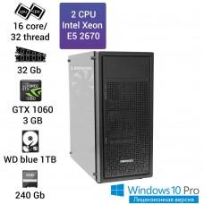 Графическая станция 2 x E5 2670 16 ядер 32 потока, ОЗУ 32GB, GTX 1060 3GB