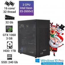 Двухпроцессорная графическая станция Alfa Sever 2x E5 2650v2 16 ядер 32 потока, 32GB, GTX 1060 3GB