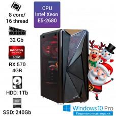 Рабочая станция Alfa Server #11 E5-2680 8 ядер, 16 потоков, ОЗУ 32 GB, RX 570 4GB