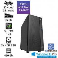 1С Сервер 2x Intel Xeon E5-2667, 12 ядер 24 потока, 96 ОЗУ, GT 710 1 gb