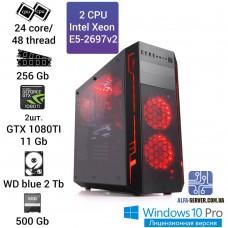 Рабочая станция  E5-2697v2 24 ядра 48 потоков, ОЗУ 256 GB, 2x GTX 1080 11GB