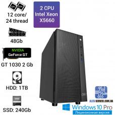 Двухпроцессорная рабочая станция 2х X5660, 12 ядер 24 потока, 48 ОЗУ, Nvidia GeForce GT 1030 2GB