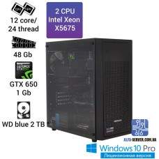 Двухпроцессорная рабочая станция на базе 2х X5675, 12 ядер 24 потока, 48 ОЗУ, GTX 650 1 gb