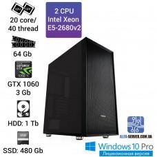 Двухпроцессорная рабочая станция 2x Intel Xeon E5 2680v2 20 ядер 40 потоков, ОЗУ 64 GB, GTX 1060 3GB