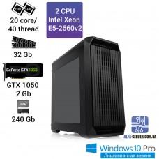 Рабочая станция 2x Intel Xeon E5 2660v2 20 ядер 40 потоков, ОЗУ 32 GB,  GTX 1050 2GB