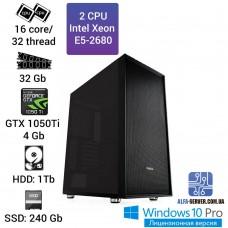 Двухпроцессорная рабочая станция 2 x E5 2680 16 ядер 32 потока, ОЗУ 32GB, Nvidia GeForce GTX 1050Ti 4GB