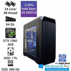 Двухпроцессорная рабочая станция 2x Intel Xeon E5 2697v2 24 ядра 48 потоков, ОЗУ 64 GB,  GeForce GTX 1060 3GB