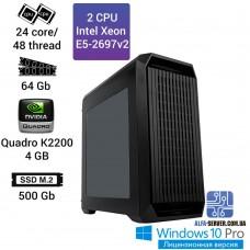 Двухпроцессорная рабочая станция 2x Intel Xeon E5 2697v2 24 ядра 48 потоков, ОЗУ 64 GB, NVIDIA Quadro K2200 4GB