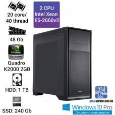 Двухпроцессорная рабочая станция 2 x E5 2660v2 20 ядер 40 потоков, ОЗУ 48GB,  Nvidia Quadro K2000 2GB