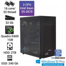 Двухпроцессорная рабочая станция 2 x E5 2670 16 ядер 32 потока, ОЗУ 32GB, NVIDIA Quadro K600 1GB