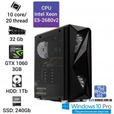 Рабочая станция Alfa Server #1 E5 2680v2 10 ядер 20 потоков, ОЗУ 32GB, Nvidia GeForce GTX 1060 3GB