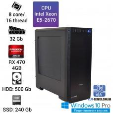 Рабочая станция Alfa Server #6 Intel Xeon E5-2670, 32 ОЗУ, RX 470 4GB