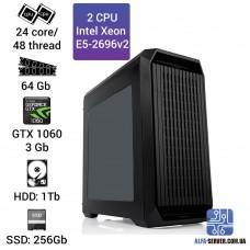 Двухпроцессорная рабочая станция 2 x E5 2696v2 24 ядра 48 потоков, ОЗУ 64GB, Nvidia GeForce GTX 1060 3GB