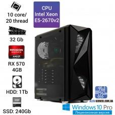 Рабочая станция Alfa Server #4 E5-2670v2 10 ядер 20 потоков, ОЗУ 32GB, AMD Radeon RX 570 4GB