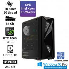 Рабочая станция Alfa Server #4 E5-2670v2 10 ядер 20 потоков, ОЗУ  64 GB, GeForce GTX 1060 3GB