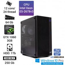 Рабочая станция Alfa Server #14 E5-2678v3 12 ядер, 24 потока, ОЗУ 64 GB, GTX 1060 3GB