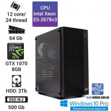 Рабочая станция Alfa Server #13 E5-2678v3 12 ядер, 24 потока, ОЗУ 64 GB, GTX 1070 8GB