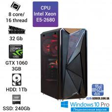 Рабочая станция Alfa Server #11 E5-2680 8 ядер, 16 потоков, ОЗУ 32 GB, GeForce GTX 1060 3GB