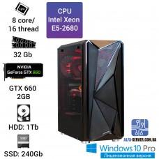 Рабочая станция Alfa Server #9 E5-2680 8 ядер, 16 потоков, ОЗУ 32 GB, GTX 660 2GB