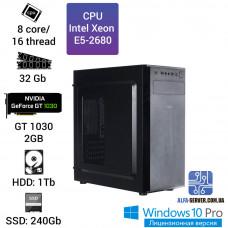 Рабочая станция Alfa Server #9 E5-2680 8 ядер, 16 потоков, ОЗУ 32 GB, GT 1030 2GB