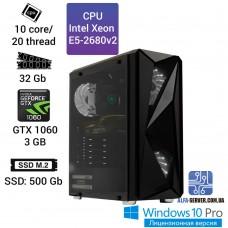 Рабочая станция Alfa Server #99 E5 2680v2 10 ядер 20 потоков, ОЗУ 32GB, Nvidia GeForce GTX 1060 3GB