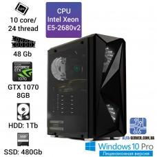 Рабочая станция Alfa Server #2 E5 2680v2 10 ядер 20 потоков, ОЗУ 48GB, Nvidia GeForce GTX 1070 8GB