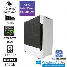 Рабочая станция Alfa Server #12 E5-2690v3 12 ядер, 24 потока, ОЗУ 32 GB, GTX 1070 8GB
