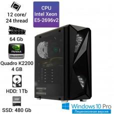 Рабочая станция Alfa Server #4 E5 2696v2 12 ядер 24 потока, ОЗУ 64GB, NVIDIA Quadro K2200 4GB