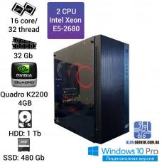 Двухпроцессорная рабочая станция 2 x E5 2680 16 ядер 32 потока, ОЗУ 32GB, Nvidia Quadro K2200 4GB