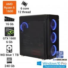 Компьютер AMD Ryzen 5 1600, 6 ядер 12 потоков, 16 ОЗУ, GeForce GTX 1660 6 GB