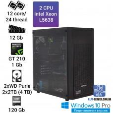 Двухпроцессорная рабочая станция/сервер 2*Intel Xeon L5638 12 ядер/24 потоков, 12 GB OЗУ, GT 210 1 GB