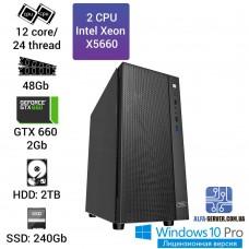 Двухпроцессорная рабочая станция 2х X5660, 12 ядер 24 потока, 48 ОЗУ, GTX 660 2 gb