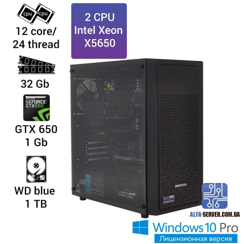Рабочая станция 2х Xeon X5650,12 ядер 24 потока, 32 ОЗУ, GTX 650 1gb. Компьютер для рендеринга и визуализации