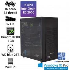 Рабочая станция 2 x E5 2665 16 ядер 32 потока, ОЗУ 32GB, NVIDIA Quadro K600 1GB