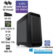 Рабочая станция 2x Intel Xeon E5 2680v2 20 ядер 40 потоков, ОЗУ 64 GB, GTX 1070TI 8GB